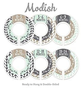 Modish Labels Baby Nursery Closet Dividers, Closet Organizers, Nursery Decor, Baby Boy, Woodland, Arrow, Tribal, Mint, Tan, Taupe, Beige