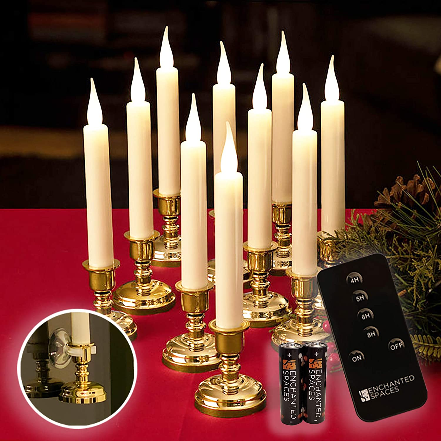 Set of 10 Flameless Ivory Window Candles with Removable Gold Candle Stands, 20 AA Batteries, Remote Control, Daily Timer, Window Suction Cups, Battery Operated LED Light