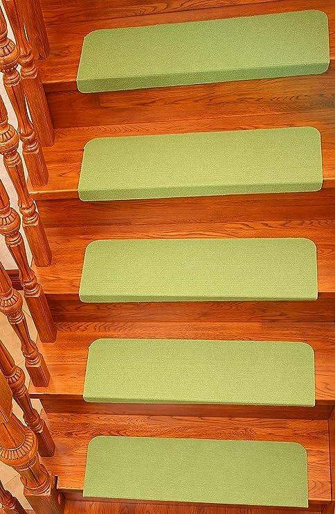Ericcay 7 Unids Paso Alfombras Escalera Alfombra Antideslizante Alfombrillas Autoadhesivas único Protección para Escaleras Fácil Cuidado Robusta (22 * 70Cm) (Color : Verde, Size : Size): Amazon.es: Hogar