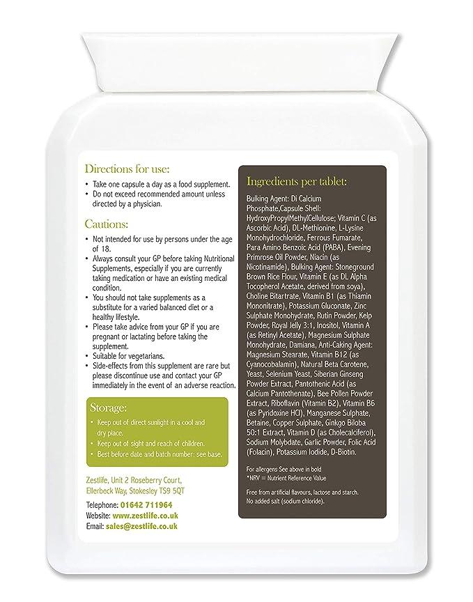 Soporte Multi - Vitaminas y Minerales Daily Vitality Zestlife 30 cápsulas | con Ginseng Siberiano, Ginkgo Biloba y jalea real