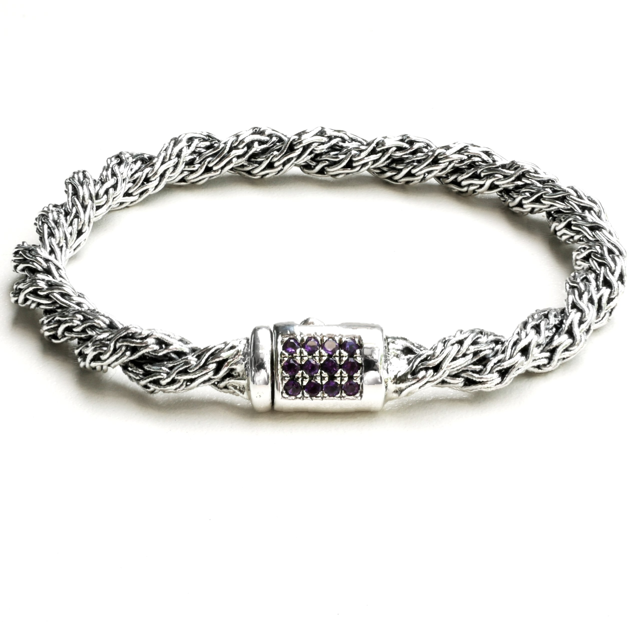 Handwoven 925 Sterling Silver Twisted Link Bali Style Bracelet with Amethyst for Women (7.5) by Kham