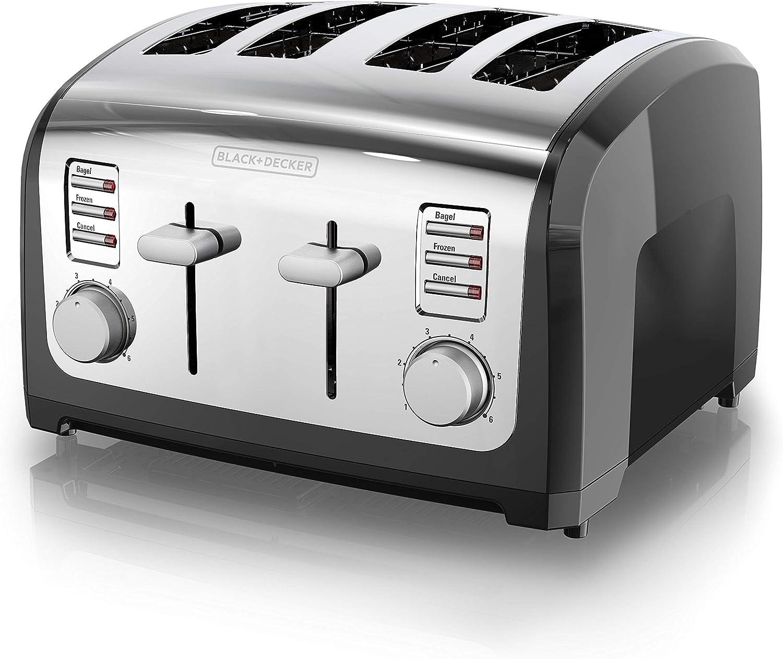 BLACK+DECKER 4-Slice Toaster, Stainless Steel, T4030 (Renewed)