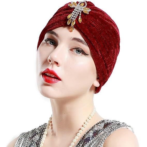 ArtiDeco Mujer Gorro Turbante con Cristal Vintage Pelo Turbante de Punto  1920s Disfraz de Estilo de los Años 20  Amazon.es  Belleza 2beb5e02d40