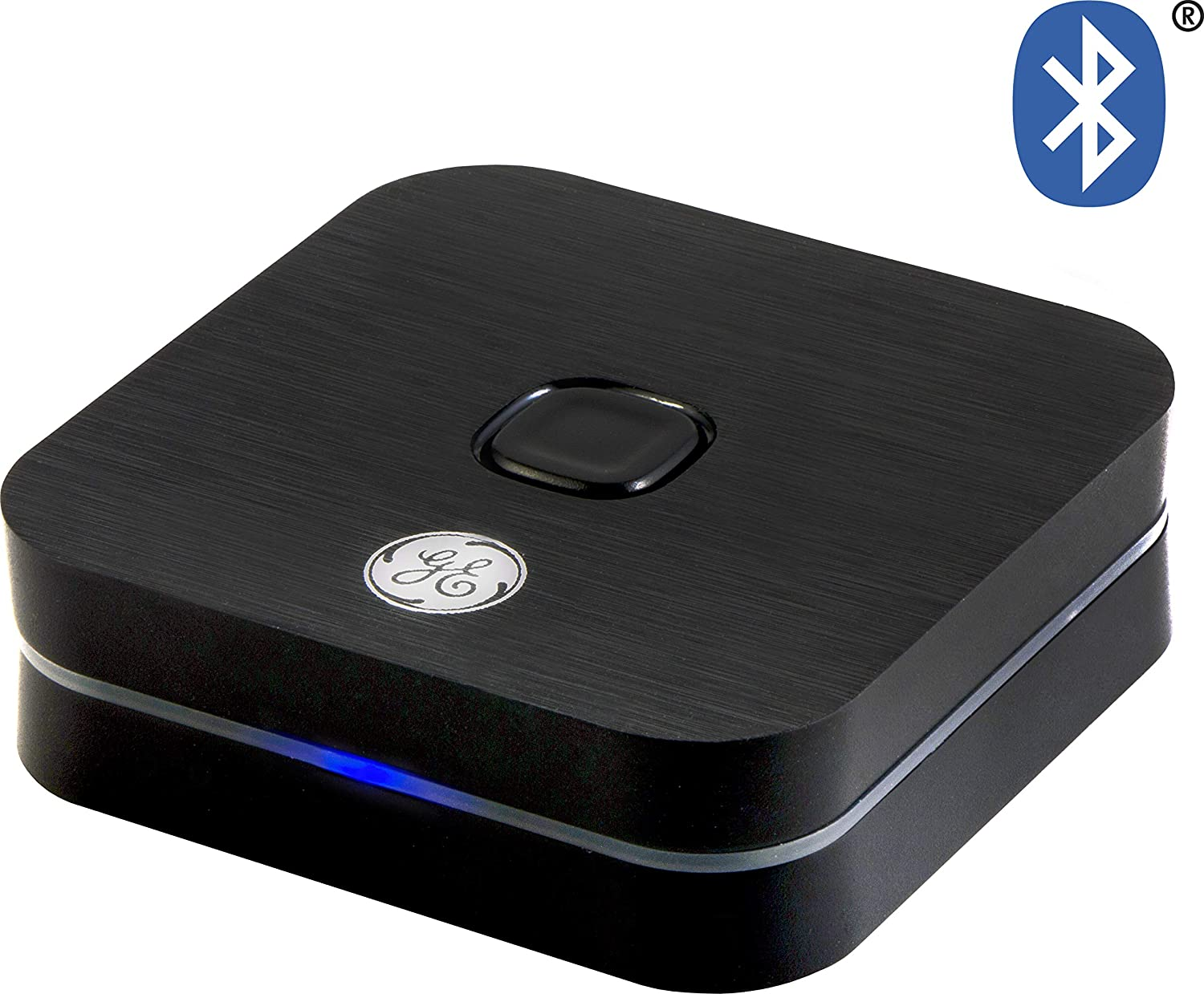 GE Bluetooth Audio Receiver, Supports A2DP, Sbc, Fcc Certified, Micro USB Charging Cord, 3.5mm Audio Cable, 3.5mm to RCA Adapter, Pair with Smartphone, Tablet, Laptop, Black, 33625