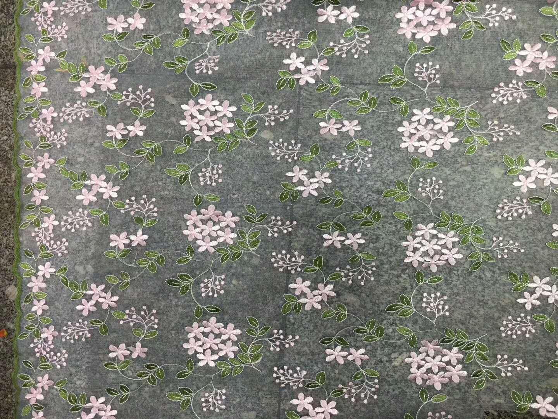 Falda de malla floral de organza con encaje bordado de tela con follaje para ni/ña elegante vestido de disfraz de bailarina de 1,52 cm de ancho gris 130 cm width 130cm