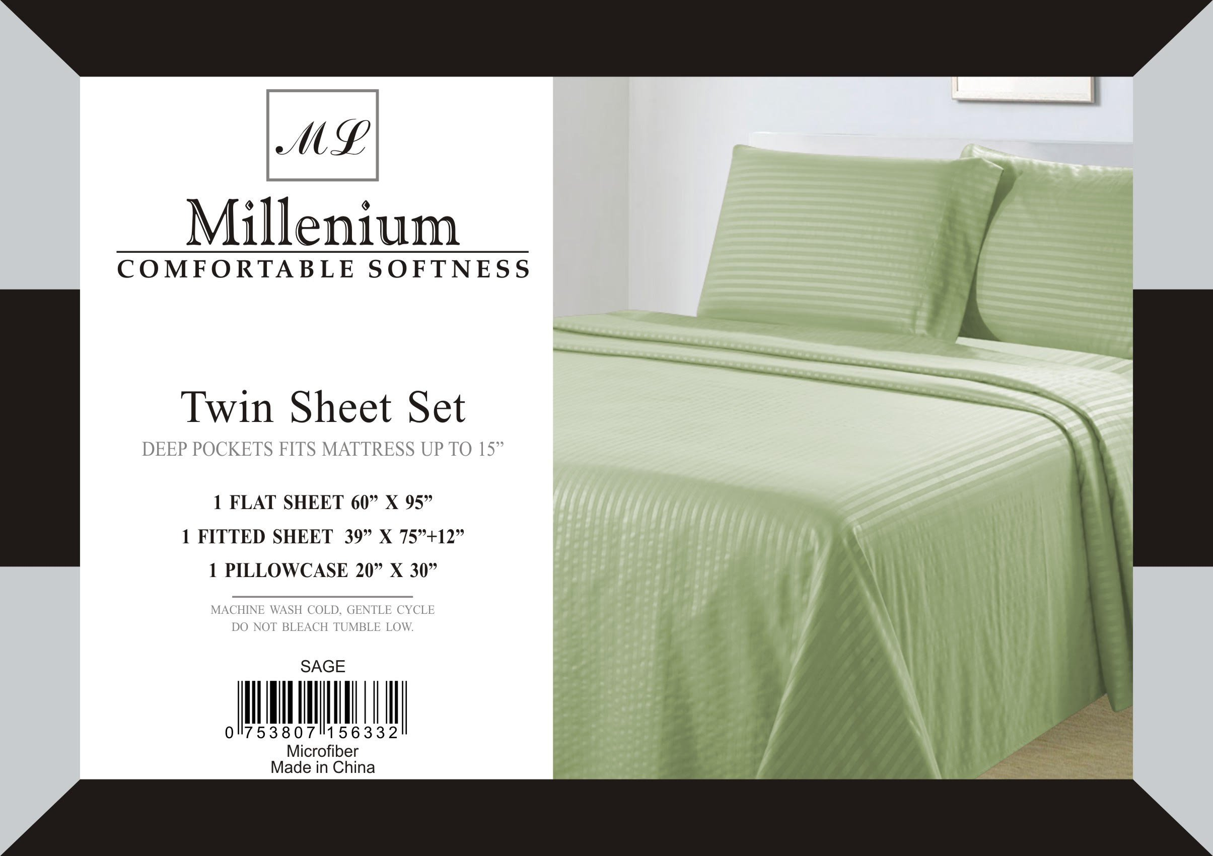 Millenium Linen  Twin Size Bed Sheet Set - Sage - 1600 Series 3 Piece - Deep Pocket  -  Cool and Wrinkle Fre e - 1 Fitted, 1 Flat, 1 Pillow Case