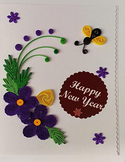 card in colour happy new year hand made greeting card