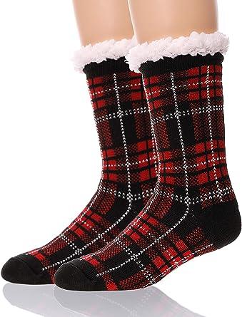 Mens Slipper Socks Fluffy Fuzzy Plush Fleece Lined Winter Cozy Crew Cabin Non Skid Socks with Gripper