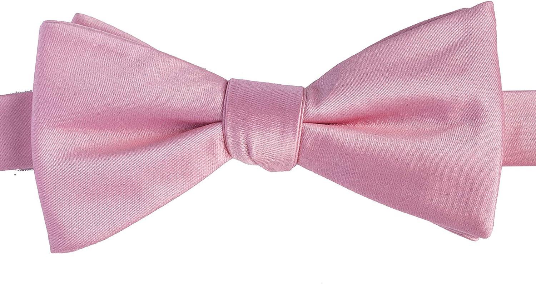 KissTies Rosy Pink Self-Tied Bow Tie Satin Wedding Bowties Gift Box