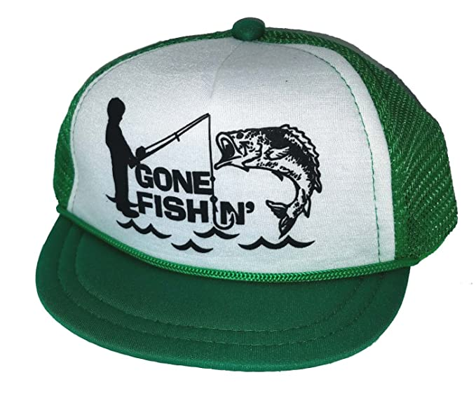 846e2549afc92 Image Unavailable. Image not available for. Color  Gone Fishin Fishing Baby  Infant Mesh Trucker Hat Cap Newborn Green Snapback