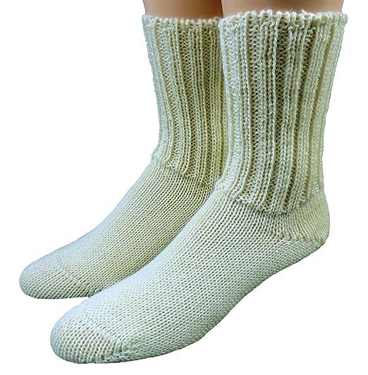 Shimasocks Mujer Calcetines de hombre 100% Lana Sin Goma Blanco Crudo: Amazon.es: Ropa y accesorios
