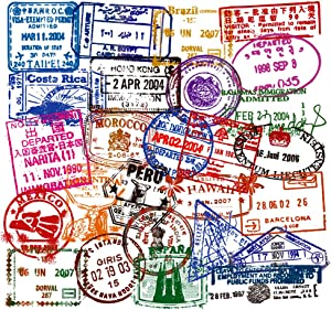 Water Bottle Stickers Travel Immigration Postmark 50 Pcs Suitcase Stickers Pack Waterproof Decals for Water Bottle Laptops Ipad Cars Luggages
