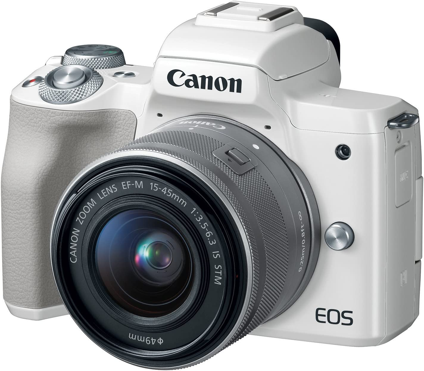 Canon EOS M50 Mirrorless Camera Kit w/EF-M15-45mm Lens and 4K Video (White) (Renewed)