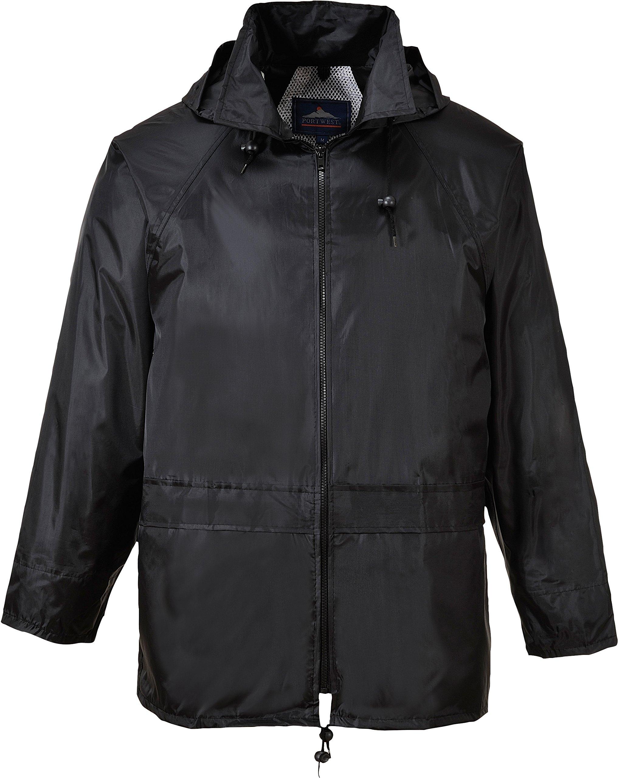 Portwest Classic Rain Jacket, Small to XXL, 3 colours - Black - XL