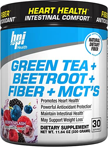 Green Tea Extract with Beetroot, Fiber and MCT s – For Healthy Weight Support, Cardiovascular and Intestinal Health Powerful Antioxidant Free Radical Protection 30 Servings, Berry Splash