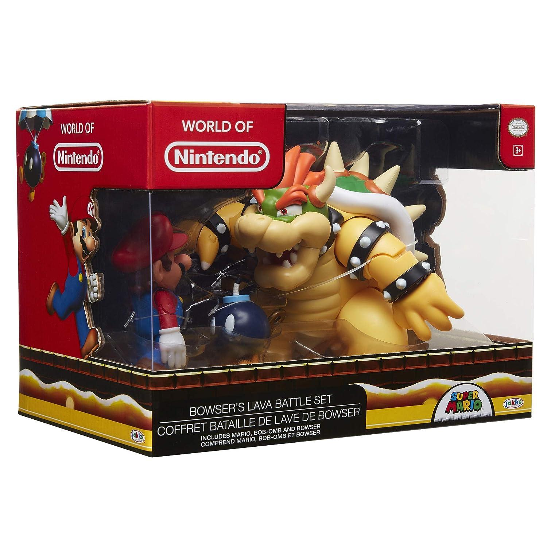 Jakks Pacific- Set Figuras Nintendo Mario VS. Bowser 18 CM Incluye BOMBITA para MAS EMOCION, Multicolor (64512)