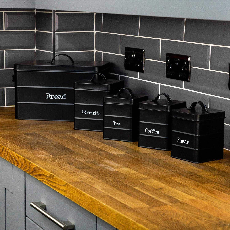 Negro Acero Estilo Antiguo t/é caf/é az/úcar Caddy con Tapa Harbour Housewares 4 Pieza Industrial Cocina para Guardar Objetos Juego de Envases