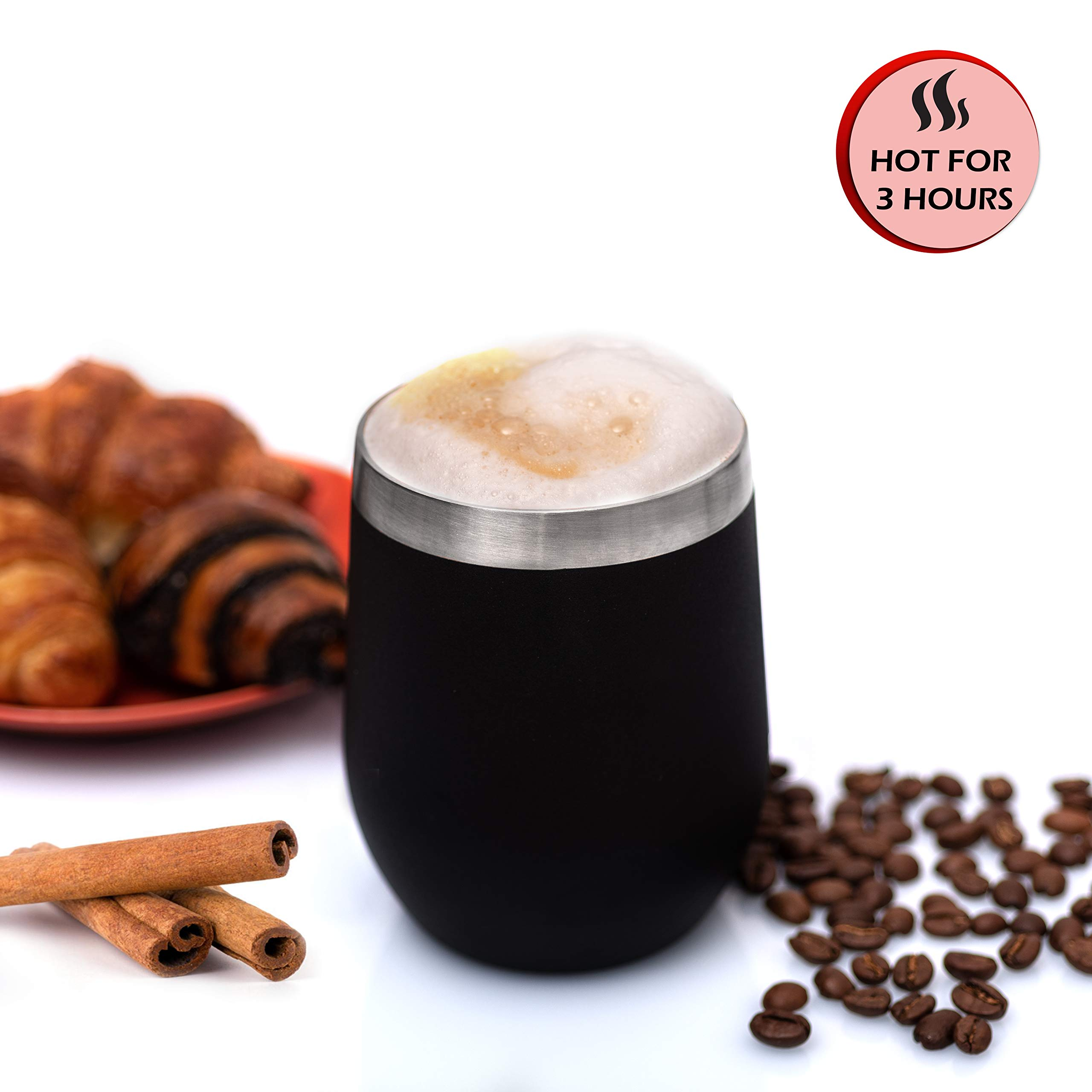 12 oz Wine Tumbler Stemless Glass with Lid, Set of 2 Stainless Steel Double-Insulated for Wine, Coffee, Drinks, Champagne, Cocktails, Black, Comes with Bonus: 2 Straws, Brush & 2 Extra Lid Sealers
