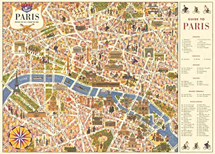 Amazon.com: Cavallini & Co. Paris Map Poster Wrapping Paper Sheet