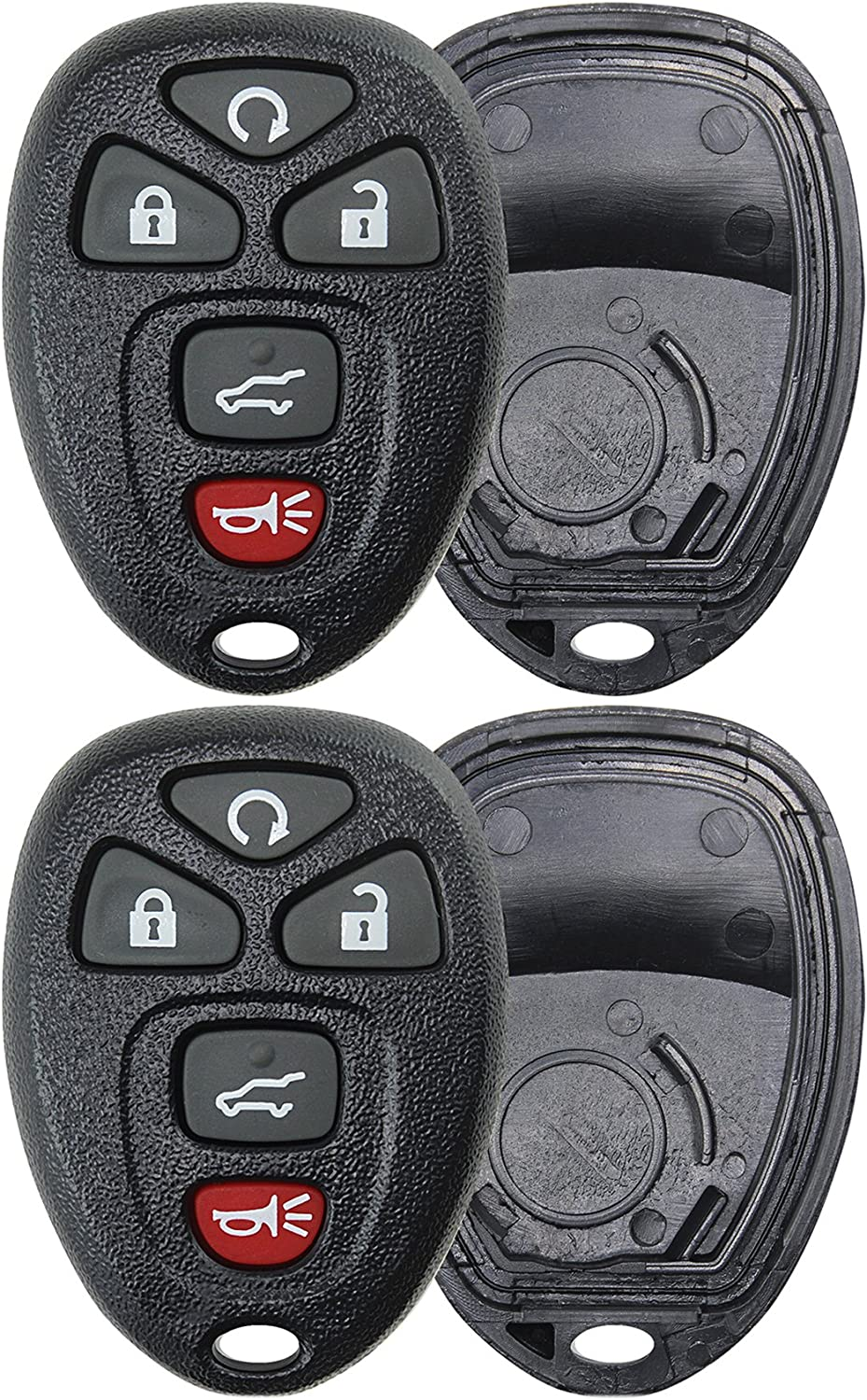2 KeylessOption Replacement 5 Button Keyless Entry Remote Key Fob Shell Case and Button Pad -Black