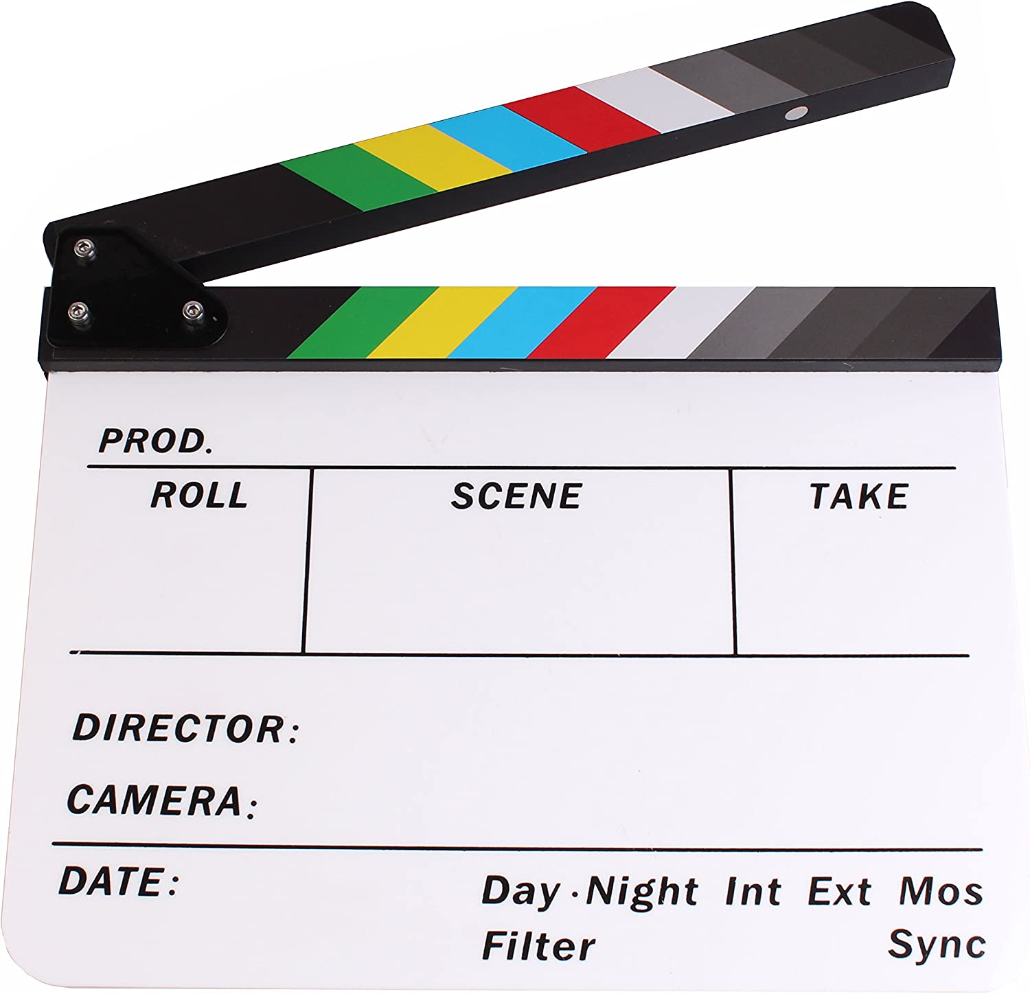 PMLAND Professional Studio Camera Photography Video Acrylic Clapboard Dry Erase Director Film Movie Clapper Board Slate with Color Sticks 10 x 12 Inch White