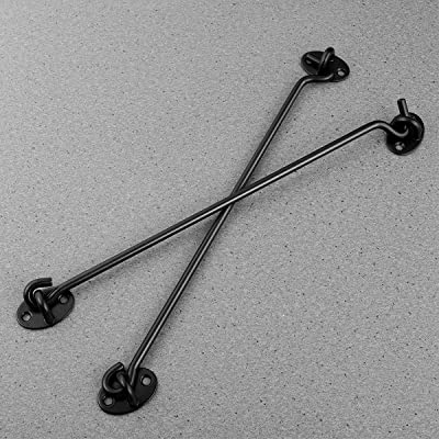 Long Proshopping 2PCS 8 Inch Stainless Steel Barn Door Hook and Eye Latch Black