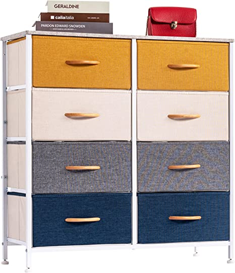 Amazon.com - WAYTRIM 4-Tier Wide Drawer Dresser, Storage Unit With 8 Easy Pull Fabric Drawers And Metal Frame, Wood Top, Organizer Unit For Bedroom, Hallway, Entryway, Closets - Orange, Blue, Gray -