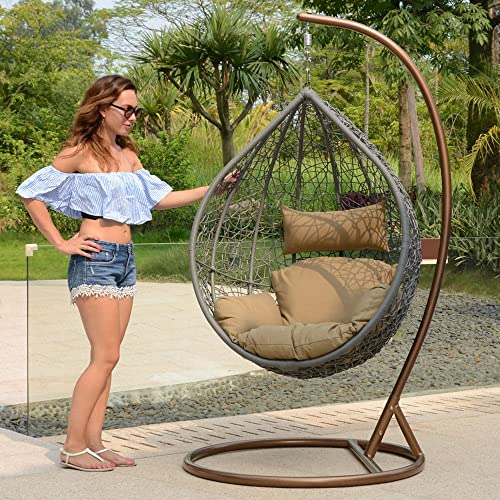 Island Gale Hanging Basket Chair Outdoor Front Porch Furniture with Stand and Cushion Grey Wicker, Beige Cushion