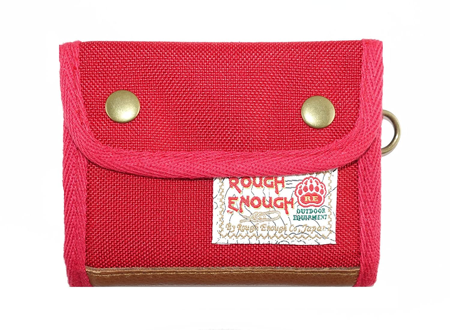 ROUGH ENOUGH Classic Vintage Polyester Leather Trimming Large Capacity Trifold Portable Shopping Coin Cash Zipper Wallet Purse Money Holder for Women Kids Boys Teen with Snap Button Closure Outdoors ROUGH ENOUGH INC. RE8333