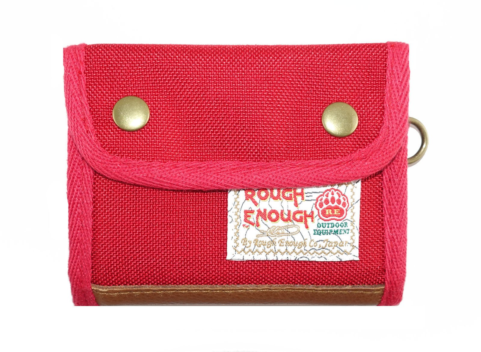 Rough Enough Polyester Leather Trimming Vintage Large Capacity Trifold Short Portable Zippered Coin Wallet Purse Pouch Case Holder Organizer with Snap Button Closure for Kids Boys Teens Outdoors Red