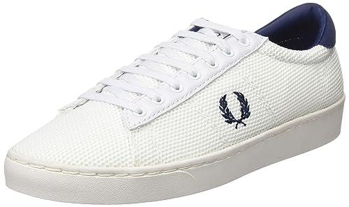Spencer Mesh, Zapatos de Cordones Oxford para Hombre, Blanco (White/French Navy), 45 EU Fred Perry