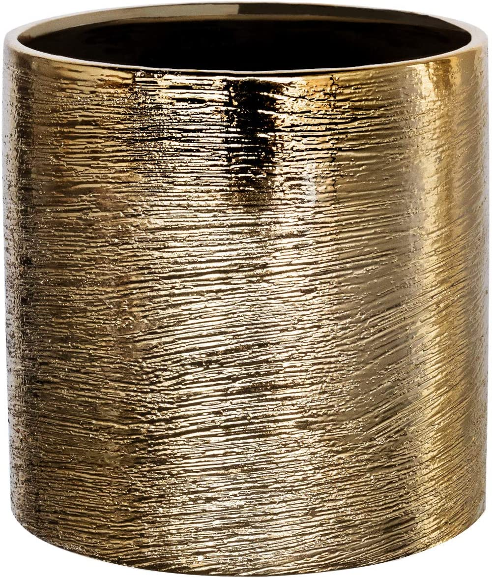 "Flower Glass Ceramic Vase Decorative Centerpiece for Home or Wedding- Etched Cylinder Shape, 5""x5"", Gold"