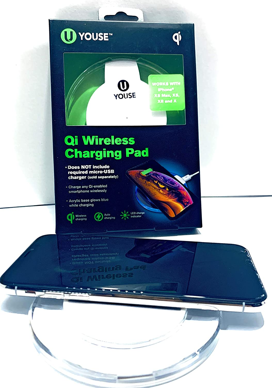 YOUSE 2.4 Amp Wireless Charging Pad for ANY Qi-enabled smartphone and 5 Foot 2.4 AMP Fix chord Wall Charger