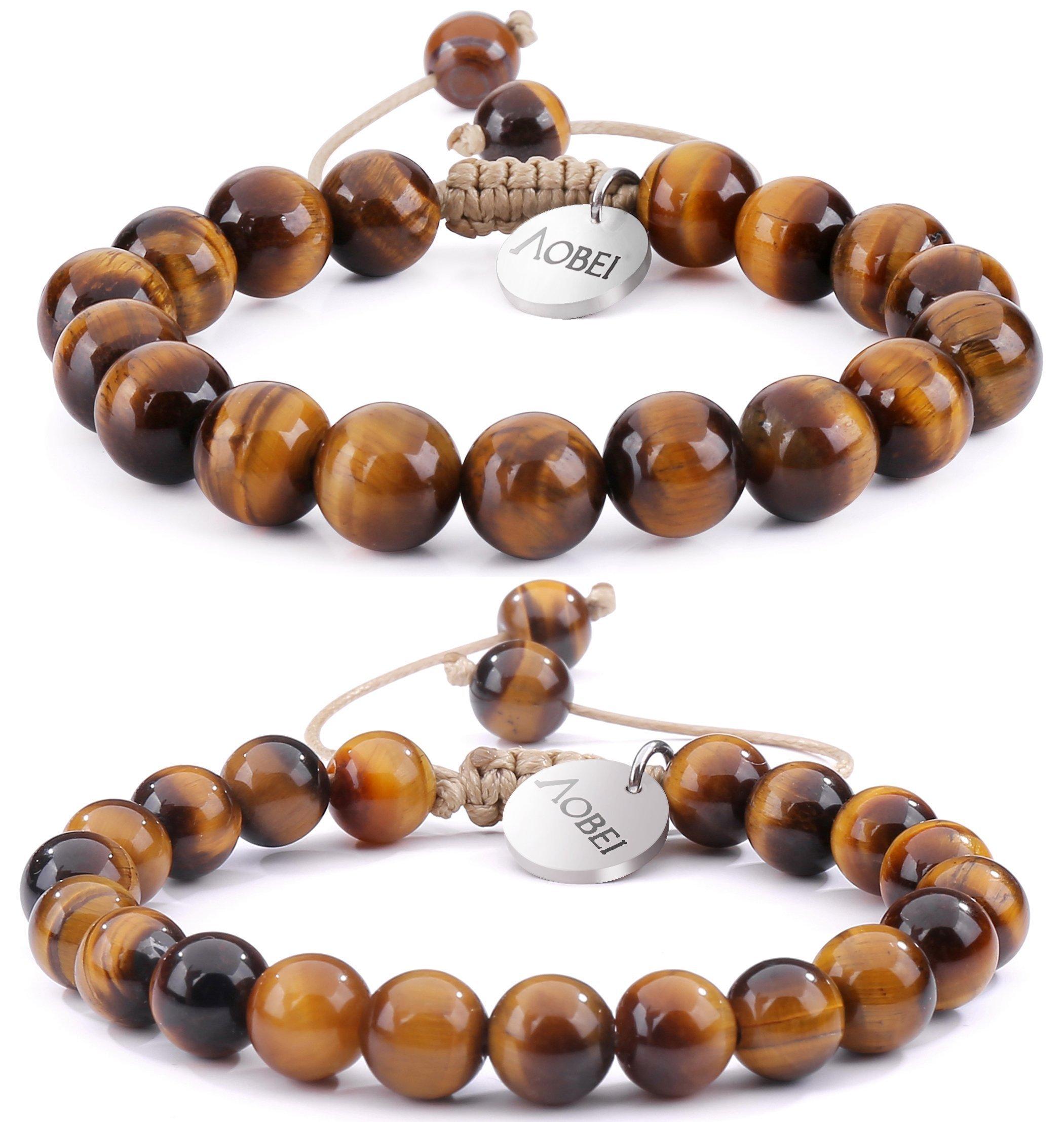 2PCS Tiger Eye Gemstone Beaded Couple Bracelet 8MM/10MM Round Beads Healing Reiki Macrame Adjustable Jewelry for Men Women by Aobei