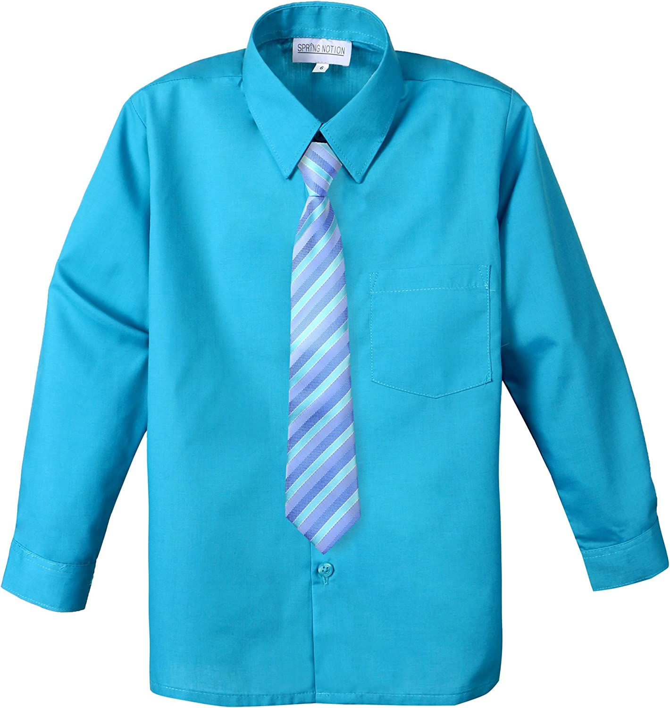 Spring Notion Big Boys Cotton Blend Dress Shirt and Tie Set