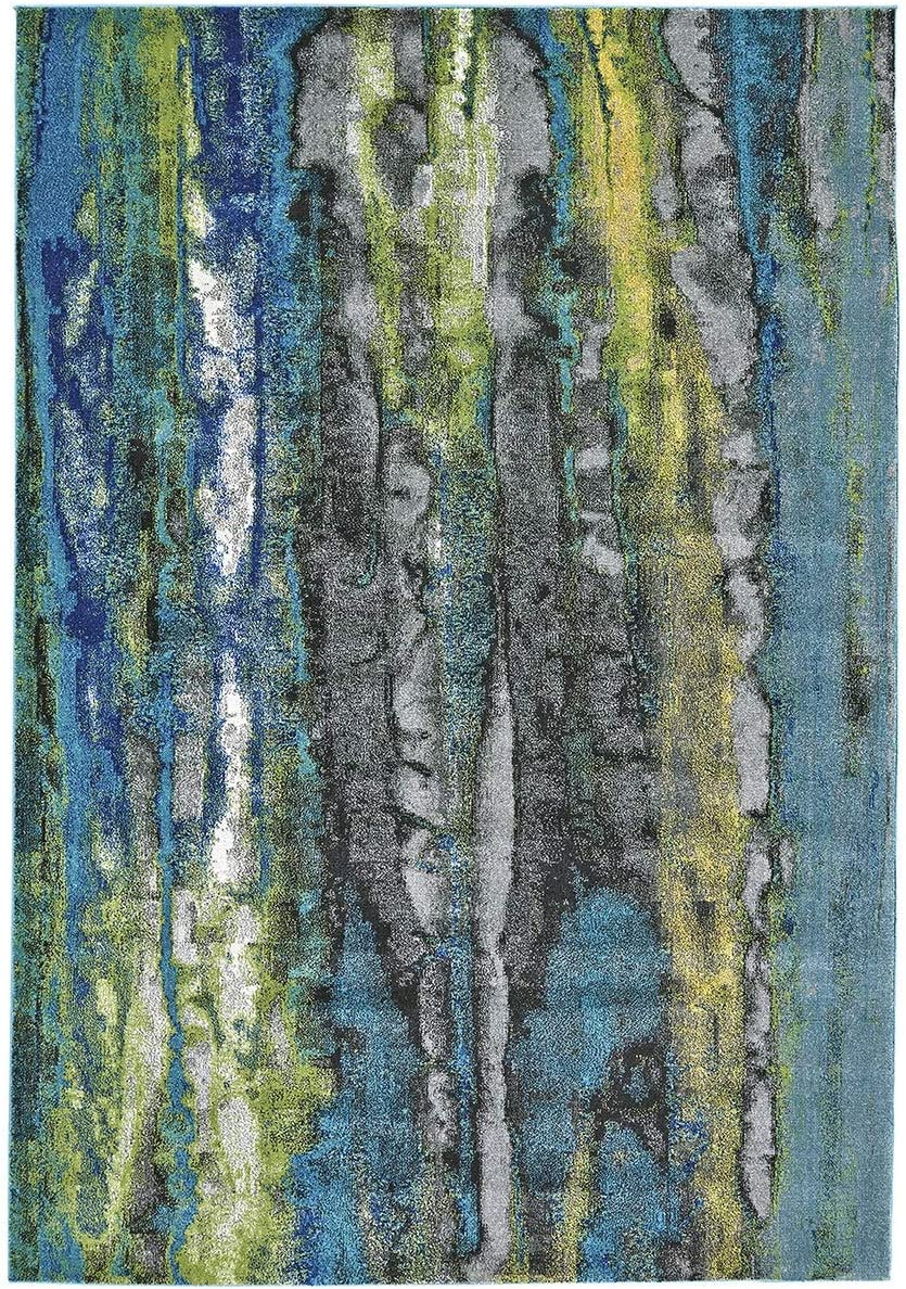 Power-loomed Rug – 5 X 8 Blue Abstract Modern Contemporary Rectangle Polypropylene Synthetic Contains Latex Stain Resistant
