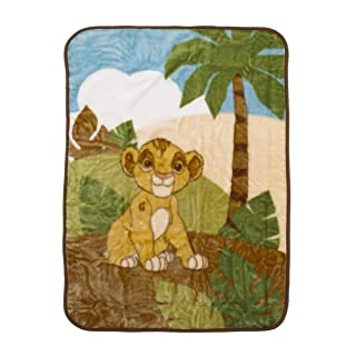 Disney Lion King Urban Jungle Luxury Plush Throw Blanket, Tan/Brown/Green/Ivory