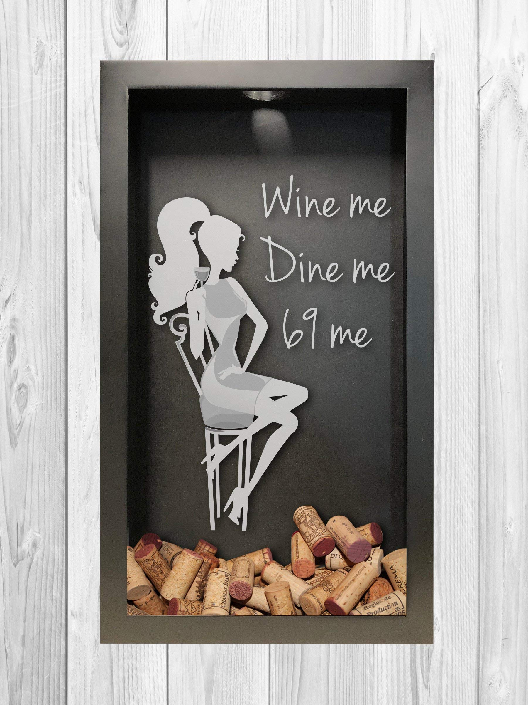 Wine Me, Dine Me | Wine Cork Shadow Box | Wine Lover Gift | Wine Cork Shadow Box