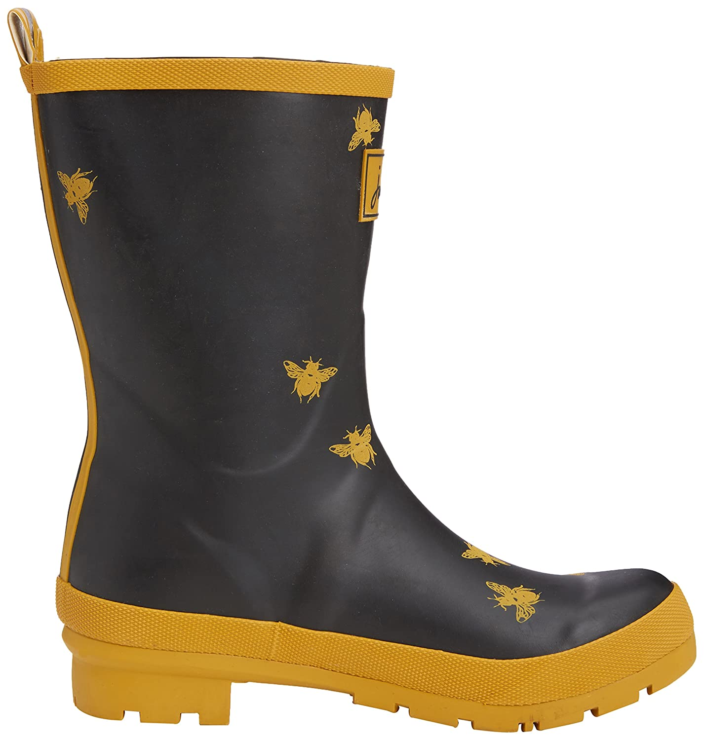Joules Women's Molly Welly Rain Boot B07CXR27HK Women's 6|Black Bees