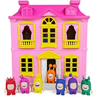 Oddbods Pink and Yellow House Playset for Kids - Features Indoor and Outdoor Spaces with Furniture and 7 Detailed…