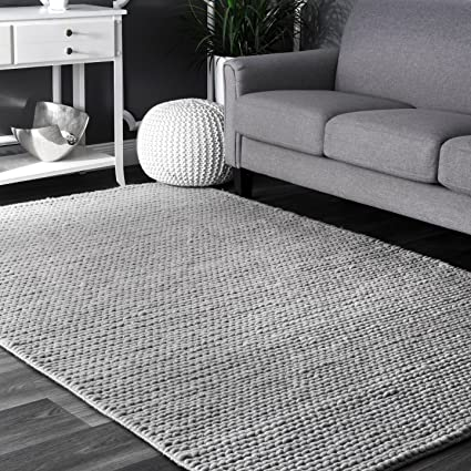 Rug Change Management.Nuloom Hand Woven Contemporary Solid Braided Wool Area Rug Light Grey 5 X 8