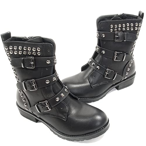 Crazyinlove - Botines con Tachuelas y Hebillas - 37: Amazon.es: Zapatos y complementos