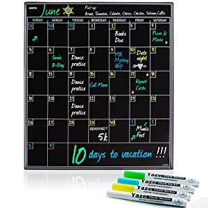 Large Magnetic Dry Erase Calendar with Chalkboard Design for Kitchen Fridge | 17X20 | Includes 4 Fine Tip Chalk Markers | Monthly Blackboard Organizer | Perfect Refrigerator Black Board