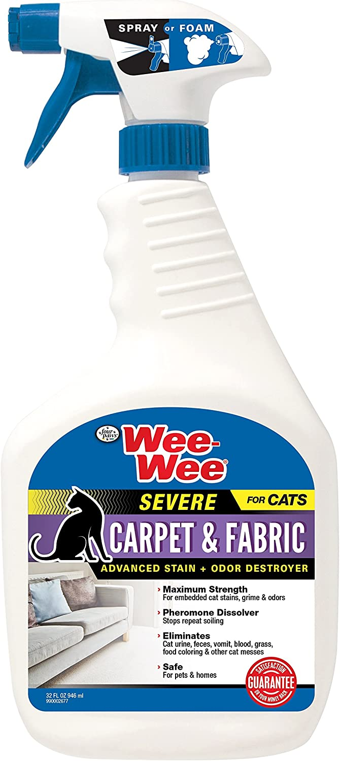 Wee-Wee Severe Carpet & Fabric Stain and Odor Destroyer for Cats, 32 oz