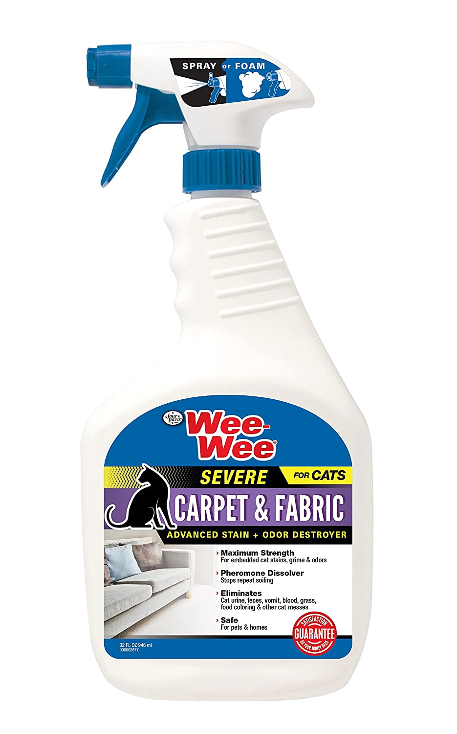 Four Paws Wee Wee Cat Carpet Fabric Severe Stain Odor Destroyer 32 oz