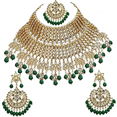 4975608d5ae Buy Gemsjewellery Green Kundan Gold Plated Bridal Jewellery Set With  Mangteeka For Women Online at Low Prices in India