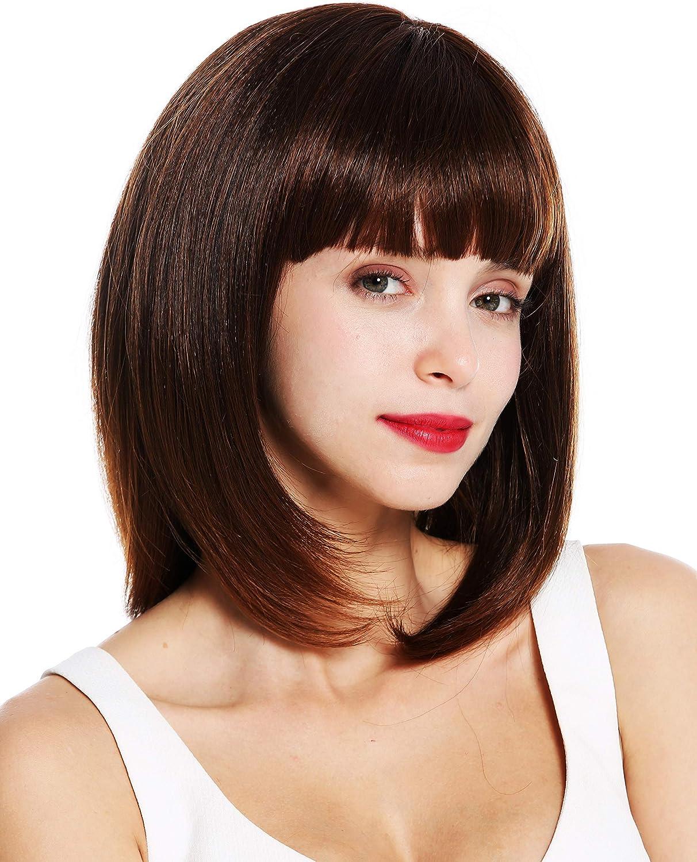 WIG ME UP /® VK-49-1 peluca de mujer pelo liso al hombro Bob largo flequillo color negro