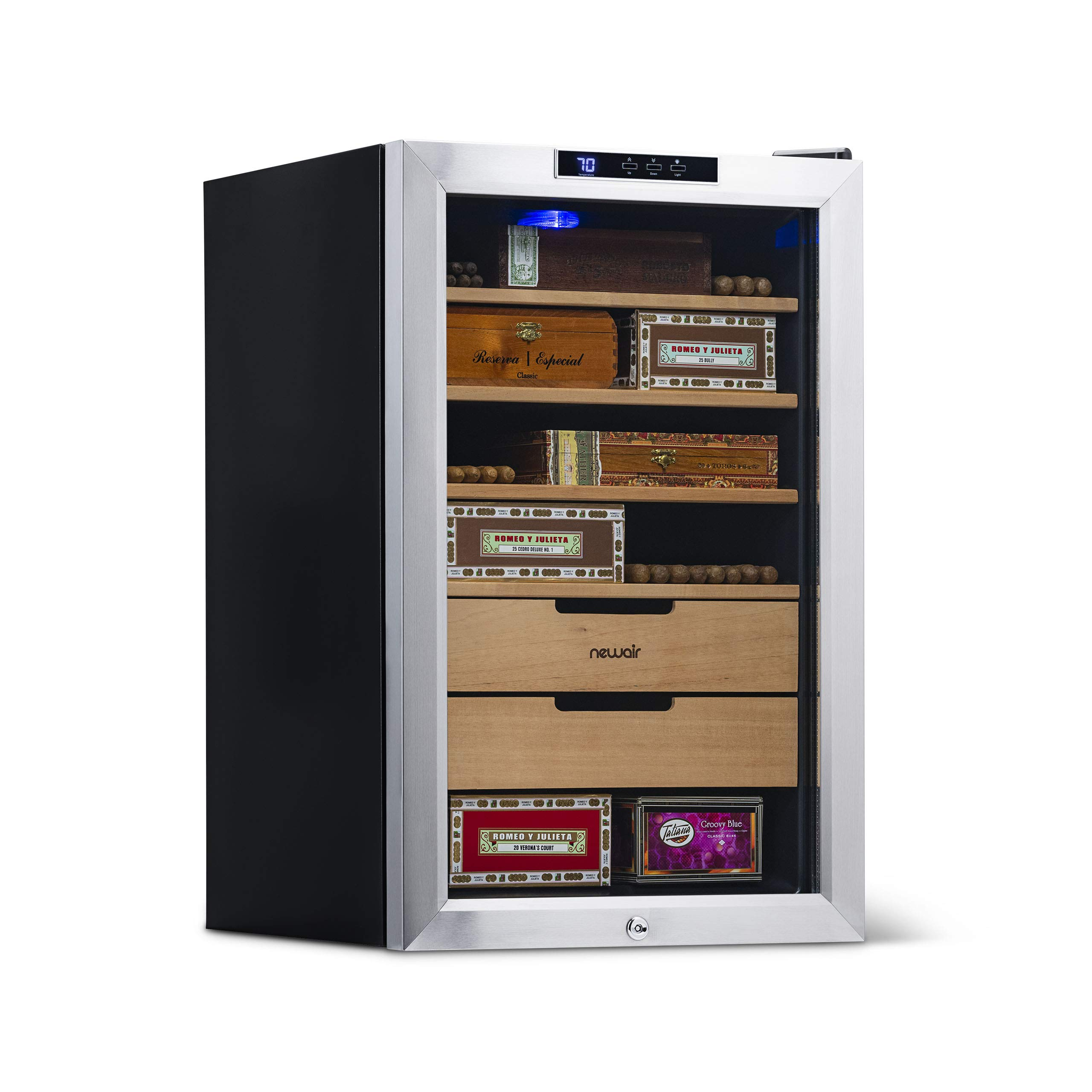 NewAir Cigar Humidor Climate Controlled with 400 Cigar Capacity - Digital Heating and Cooling Feature - Includes Spanish Cedar Shelves and Lock - CC-300H - Stainless Steel by NewAir (Image #1)
