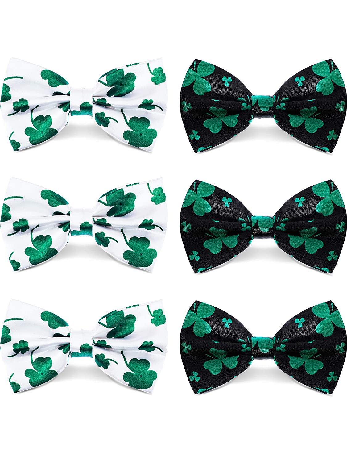 Patricks Day Accessories 2 Styles 6 Pieces Shamrock Bow-ties Adjustable Pre-Tied Bow Tie Unisex Green Clover Bow Tie for St