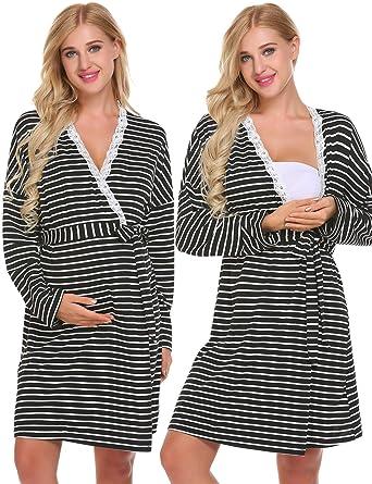 6e64197fe6f78 Ekouaer Women s Maternity Robe Nursing Nightgown for Breastfeeding Long  Sleeve Nightshirt Sleepwear